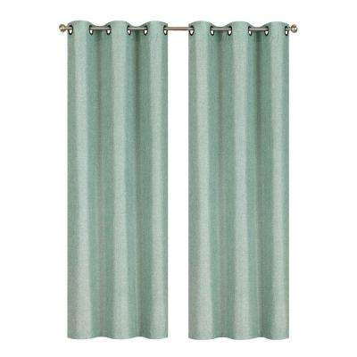 Semi-Opaque Willow Textured Woven 84 in. L Grommet Curtain Panel Pair, Harbor (Set of 2)