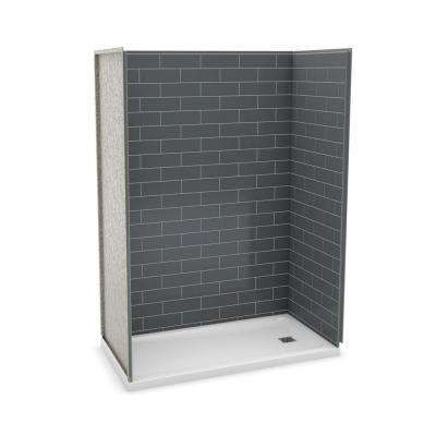 Utile Metro 32 in. x 60 in. x 83.5 in. Alcove Shower Stall in Thunder Grey with Right Drain Base in White