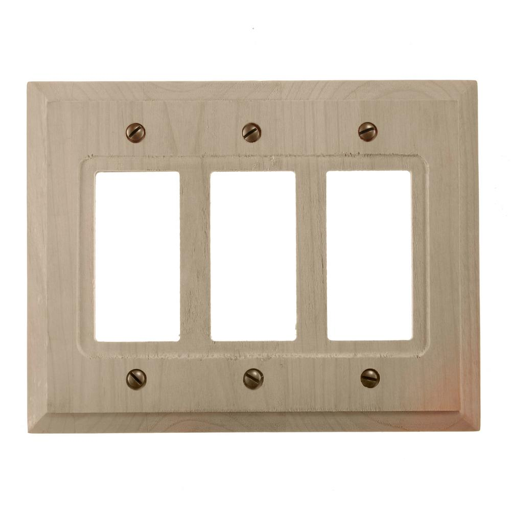 AMERELLE Cabin 3 Gang Rocker Wood Wall Plate - Unfinished