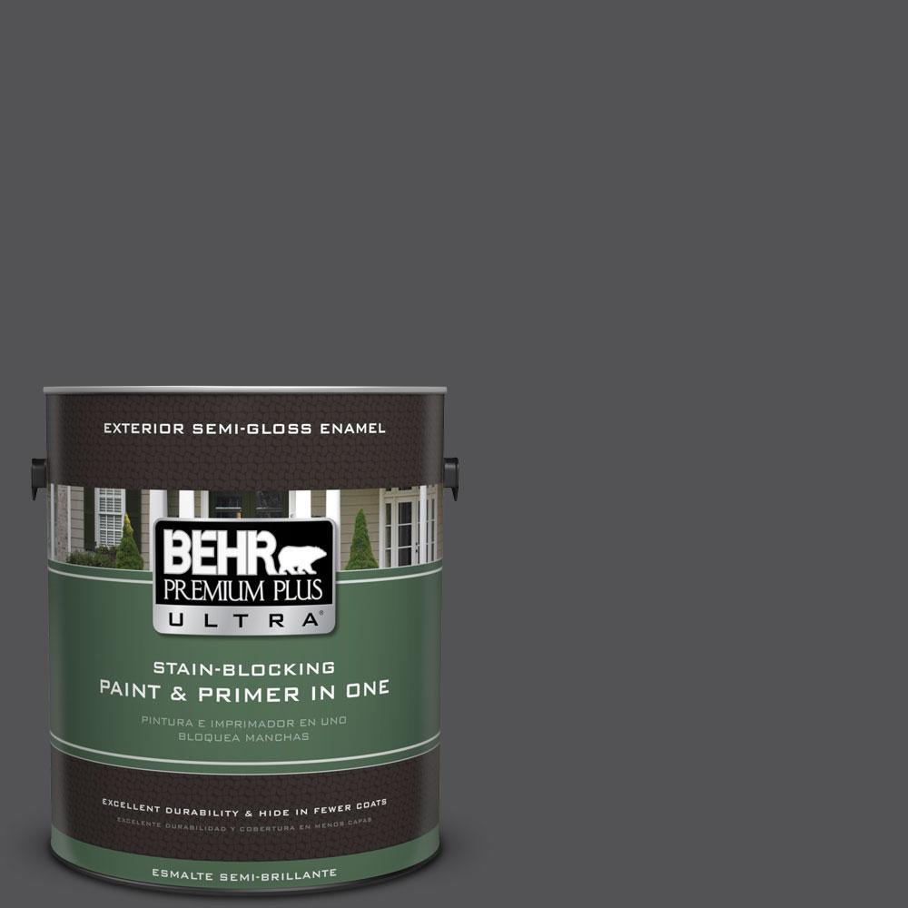 BEHR Premium Plus Ultra 1-gal. #BXC-30 Black Space Semi-Gloss Enamel Exterior Paint