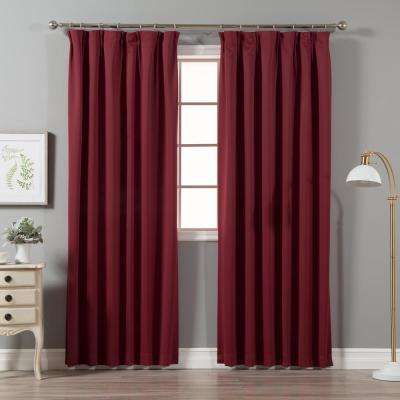 Burgundy 96 in. L Blackout Pinch Pleat Curtain Panel (2-Pack)