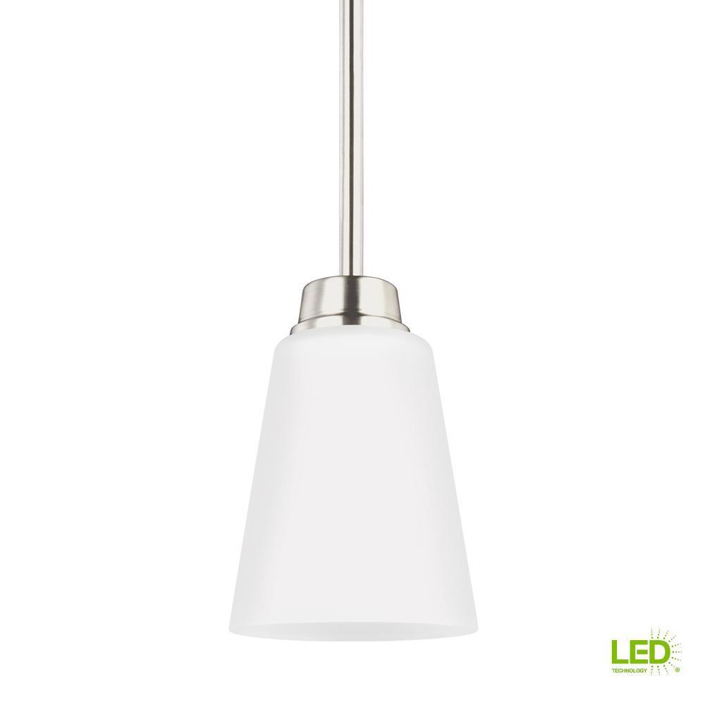 Kerrville 1-Light Brushed Nickel Pendant with LED Bulb
