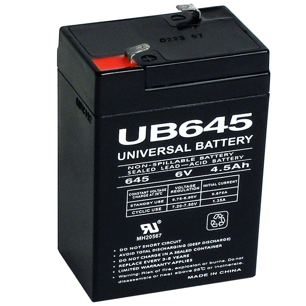 upg sla 6 volt f1 terminal agm battery ub645 the home depot. Black Bedroom Furniture Sets. Home Design Ideas