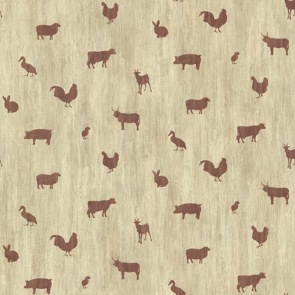 Chesapeake Farnhan Brick Animal Toss Wallpaper Sample CTR64251SAM