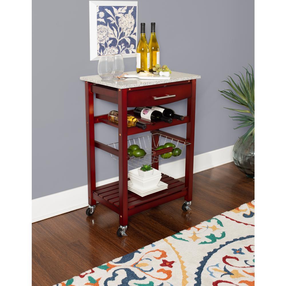 Martin Wenge Kitchen Cart with Granite Top