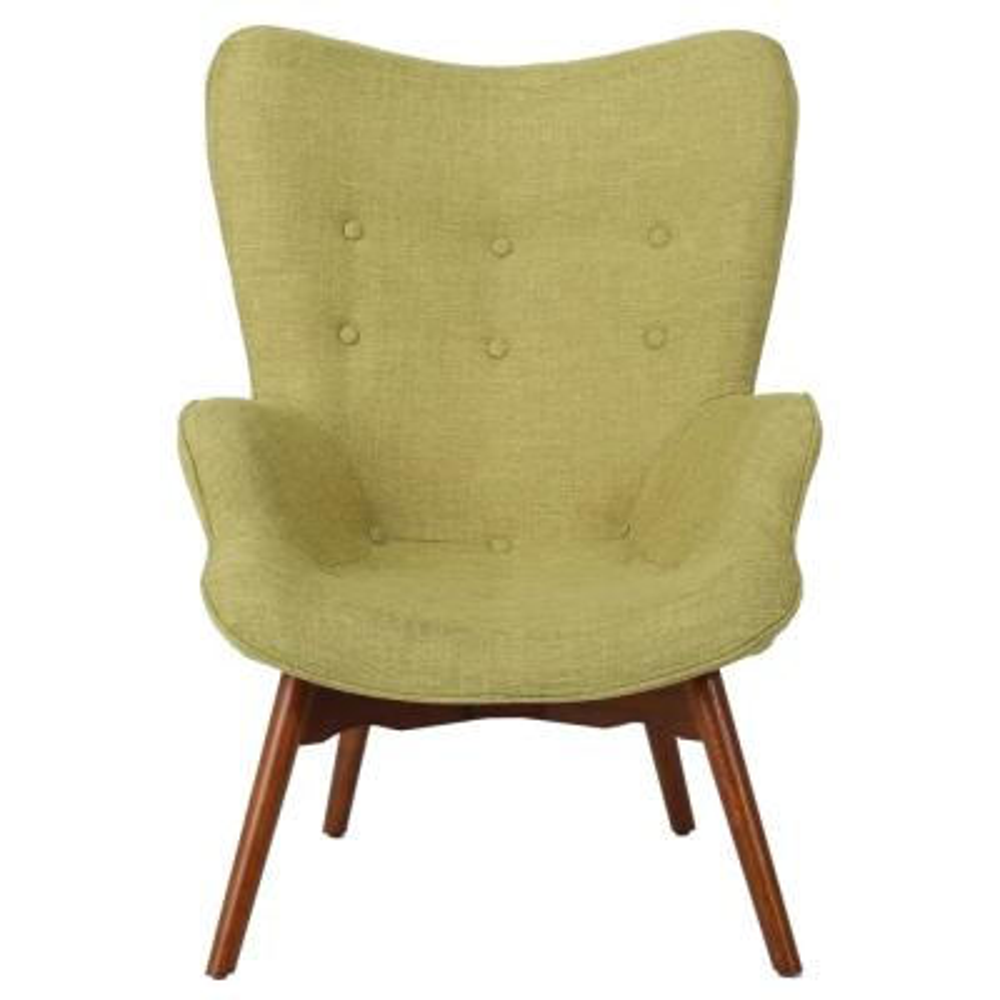 Hariata Muted Green Fabric Contour Chair