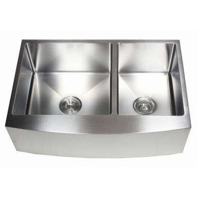 33 in. x 21 in. x 10 in. 16-Gauge Stainless Steel Farmhouse Apron 60/40 Offset Curve Front Double Bowl Kitchen Sink