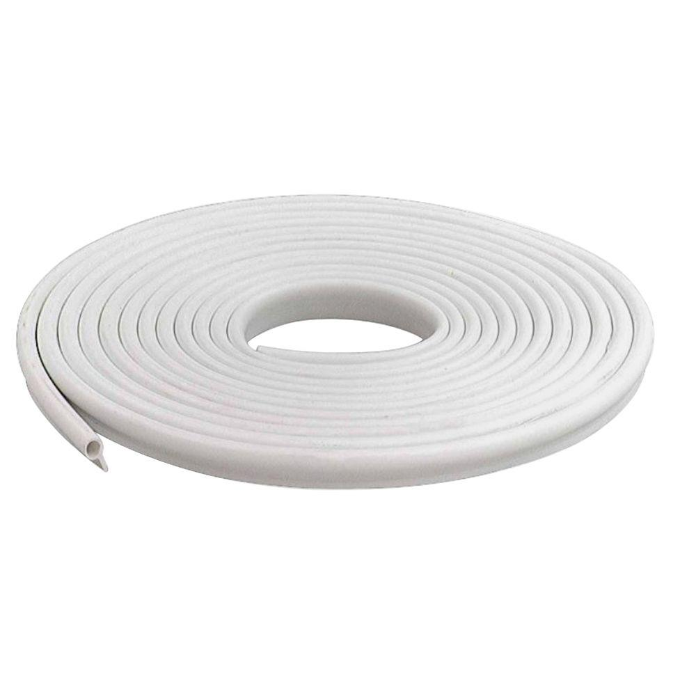 M-D Building Products 1/2 in. x 17 ft. White Vinyl Gasket Weatherstrip The MD Building Products 1/2 in. x 17 ft. White Vinyl Gasket Weatherstrip has a flexible bulb which seals around doors and windows and is especially designed for sealing varying gaps. It is easy to install and can be nailed or stapled in place.