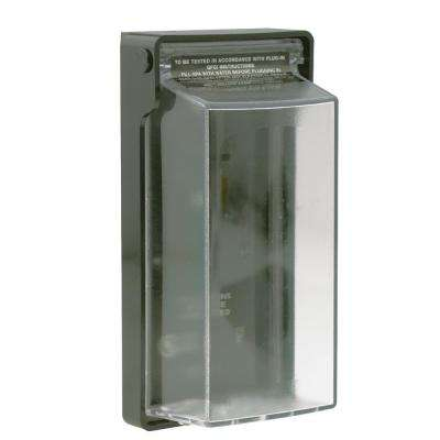 Raintight While-In-Use Weather-Resistant Cover for 15 Amp Right Angle GFCI Plugs with Ground Pin Up Orientation, Clear