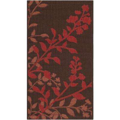 Courtyard Chocolate/Red 2 ft. x 4 ft. Indoor/Outdoor Area Rug
