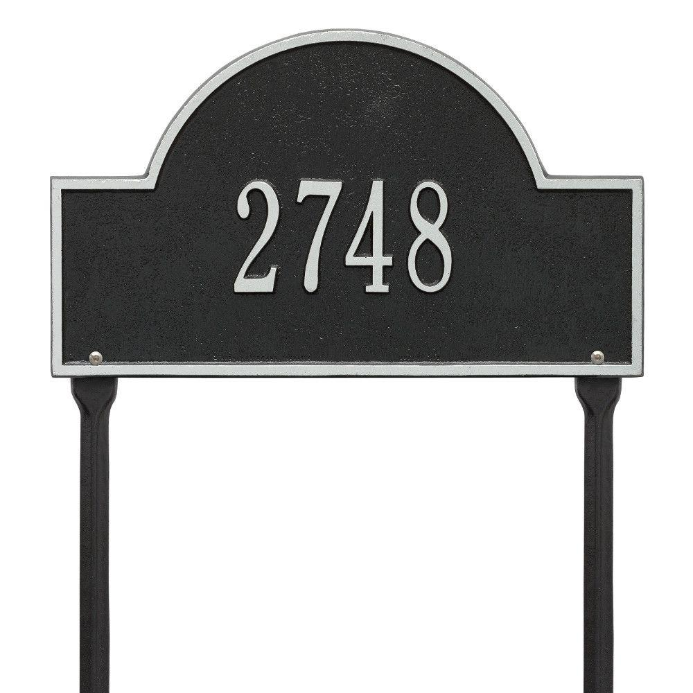 Arch Marker Standard Black/Silver Lawn 1-Line Address Plaque