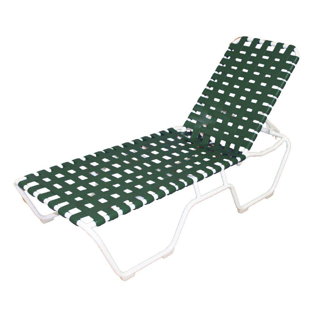 marco island white commercial grade aluminum vinyl strap outdoor chaise lounge in green 2 pack. Black Bedroom Furniture Sets. Home Design Ideas