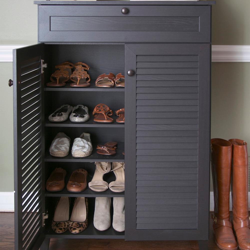 Harding Wood Shoe-Storage Cabinet in Dark Brown Espresso