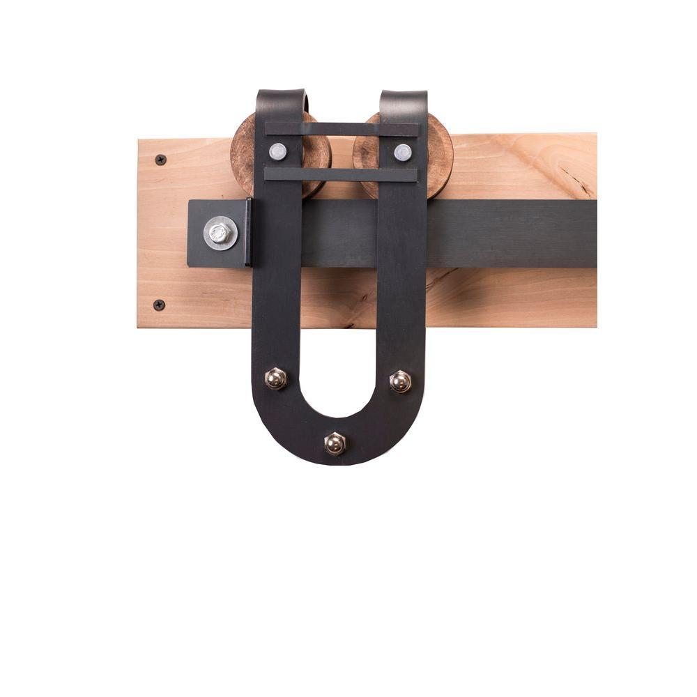 Rustica hardware in raw steel sliding barn door