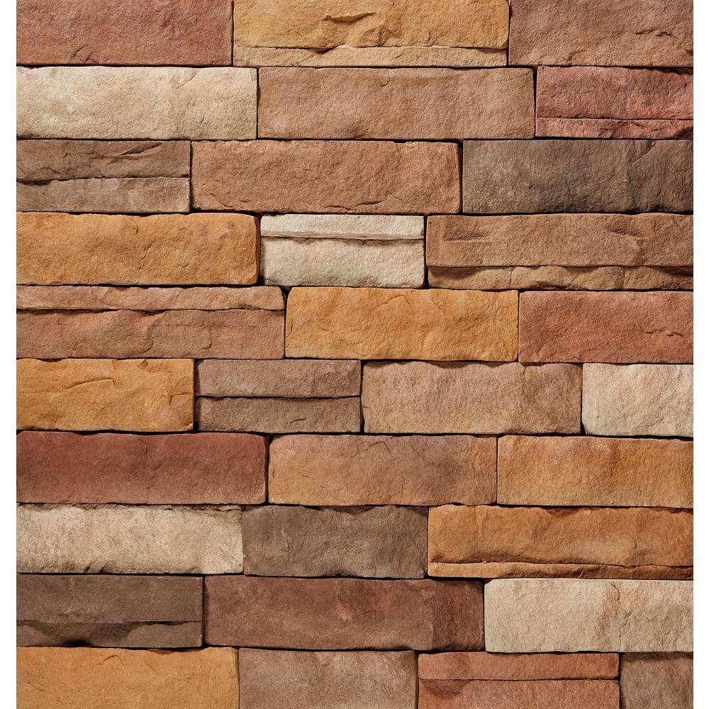 ClipStone 9 in. x 4 in. Manufactured Stone Ledgestone Sand Corner Siding (4 ft. Pack), Multicolored & Brown