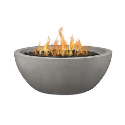 Pompton 38 in. Round Concrete Composite Natural Gas Fire Pit in Shade with Vinyl Cover