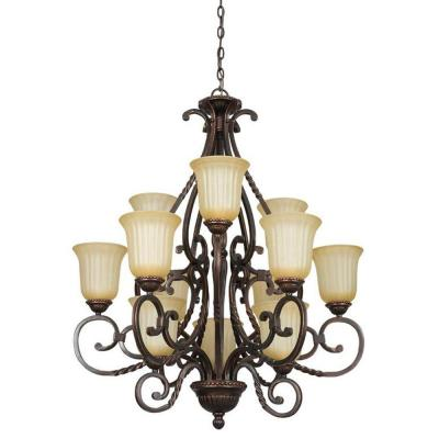 12-Light Mahogany Brass Chandelier