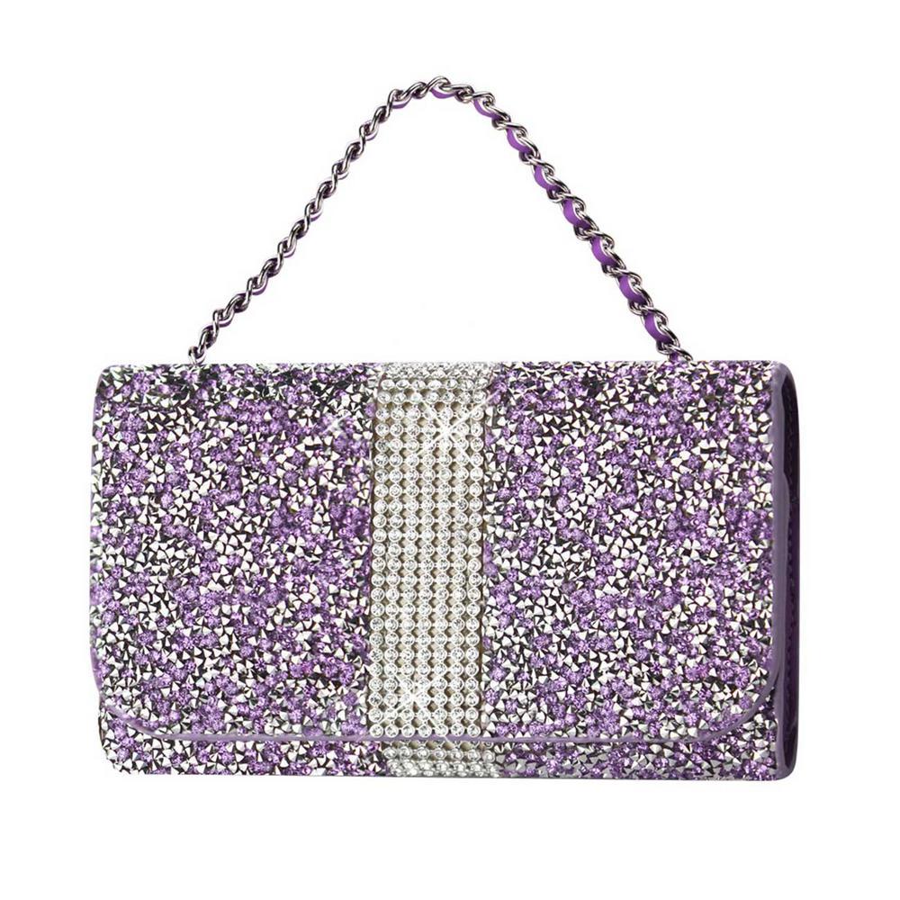 REIKO Large Rhinestone Pouch in Purple