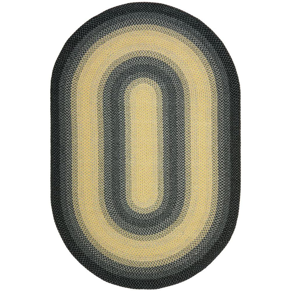 Safavieh Braided Black/Grey 6 ft. x 9 ft. Oval Area Rug