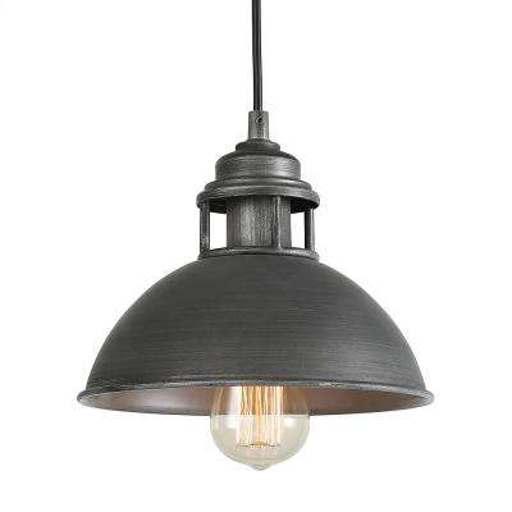 1-Light Dark Pewter Dome Pendant