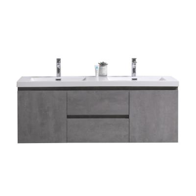 Bohemia 60 in. W Vanity in Cement Gray with Reinforced Acrylic Vanity Top in White with White Basin