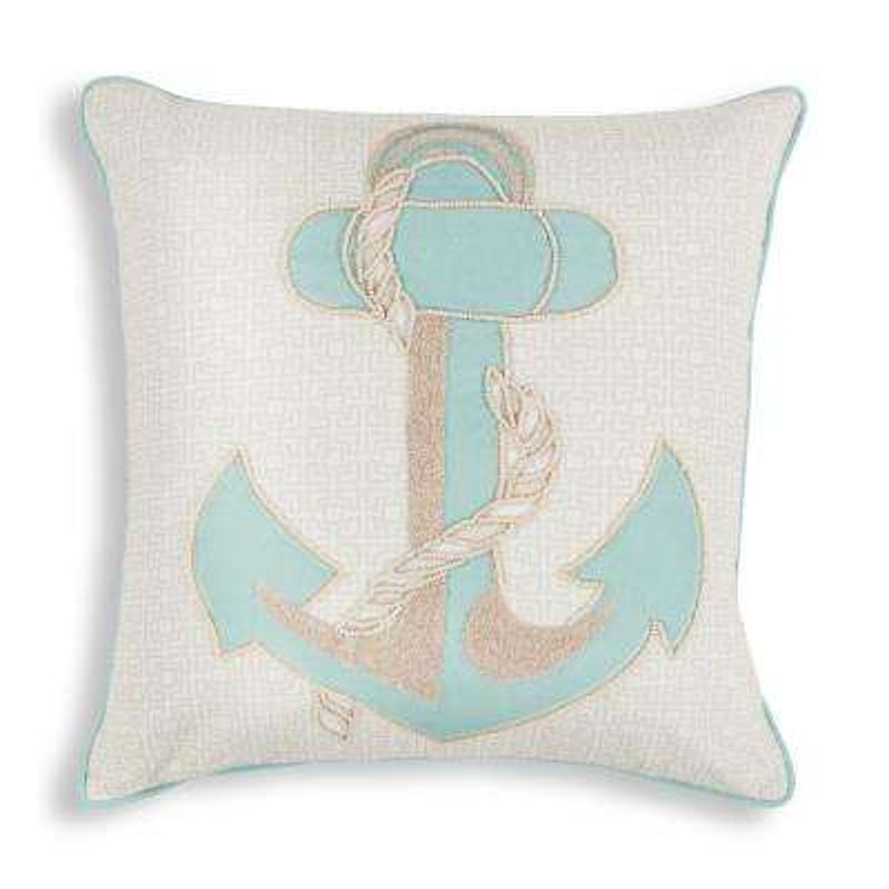 Aqua Anchor 18 in. x 18 in. Decorative Pillow