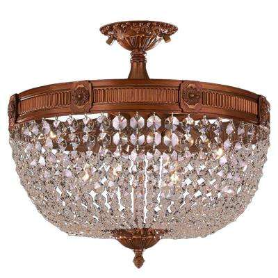 Winchester Collection 6-Light French Gold and Clear Crystal Semi Flush Mount