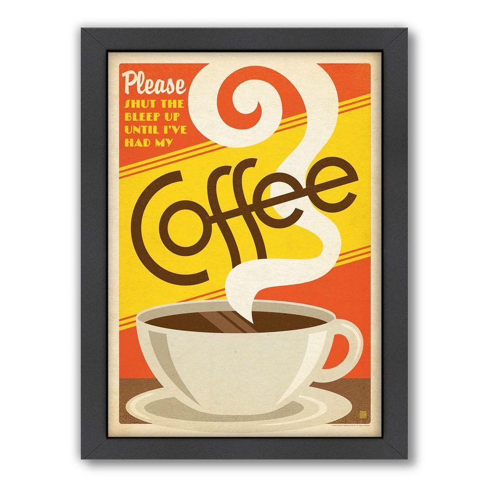 """Americanflat 27 in. x 21 in. """"Please Coffee"""" by Joel Anderson Framed Wall Art"""