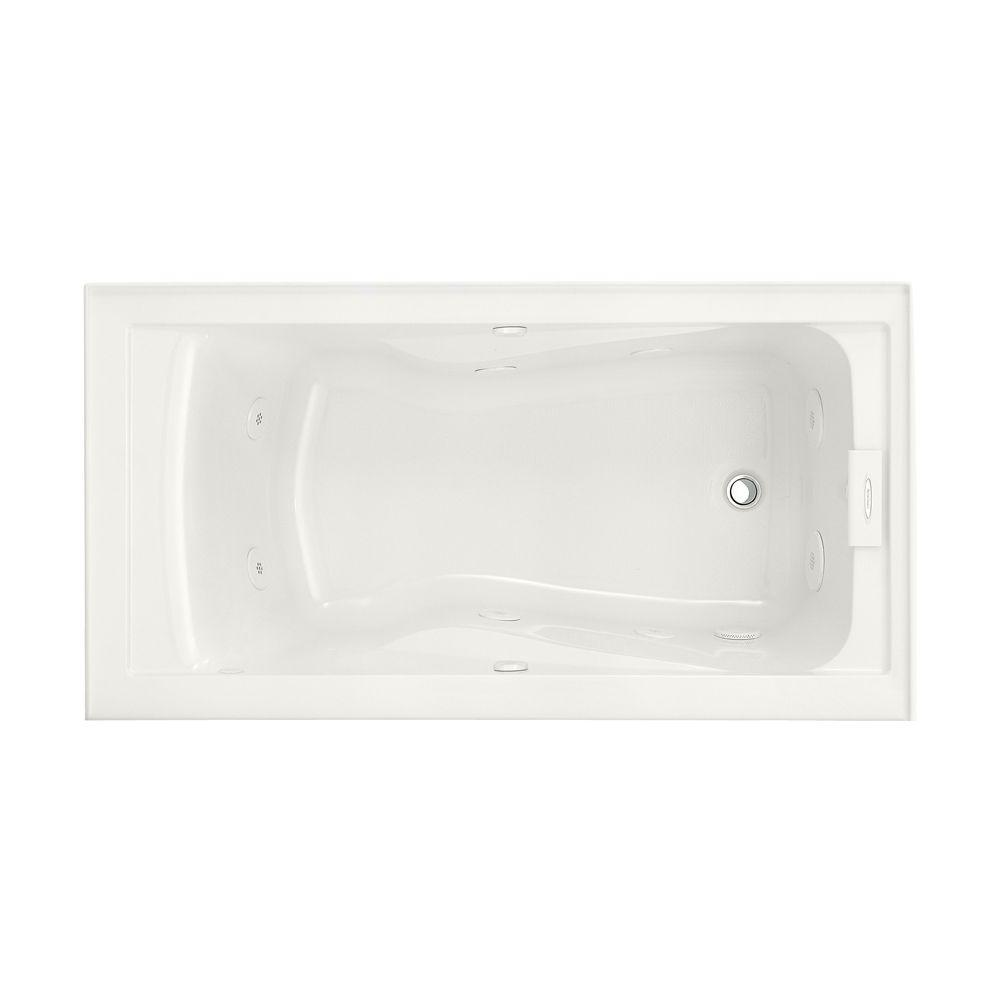 Acrylic Right Drain Rectangular Alcove Whirlpool Bathtub In White