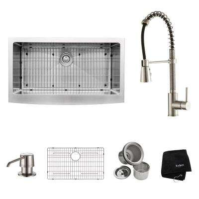All-in-One Farmhouse Apron Front Stainless Steel 36 in. Single Bowl Kitchen Sink with Faucet in Stainless Steel