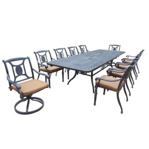 Oakland Living Extendable Cast Aluminum 11-Piece Rectangular Patio Dining Set with... by Oakland Living
