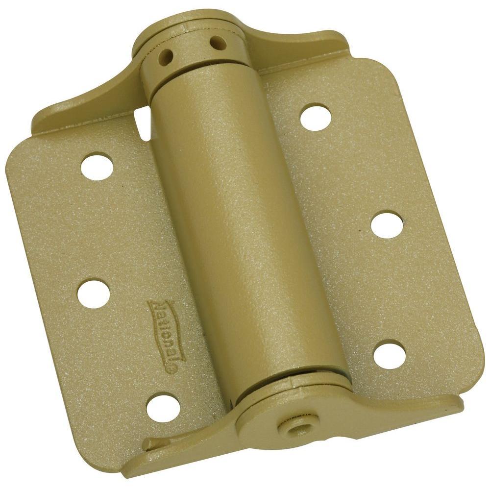 3.8 in. x 6.4 in. BakEnamel Brass Adjustable Spring Hinge