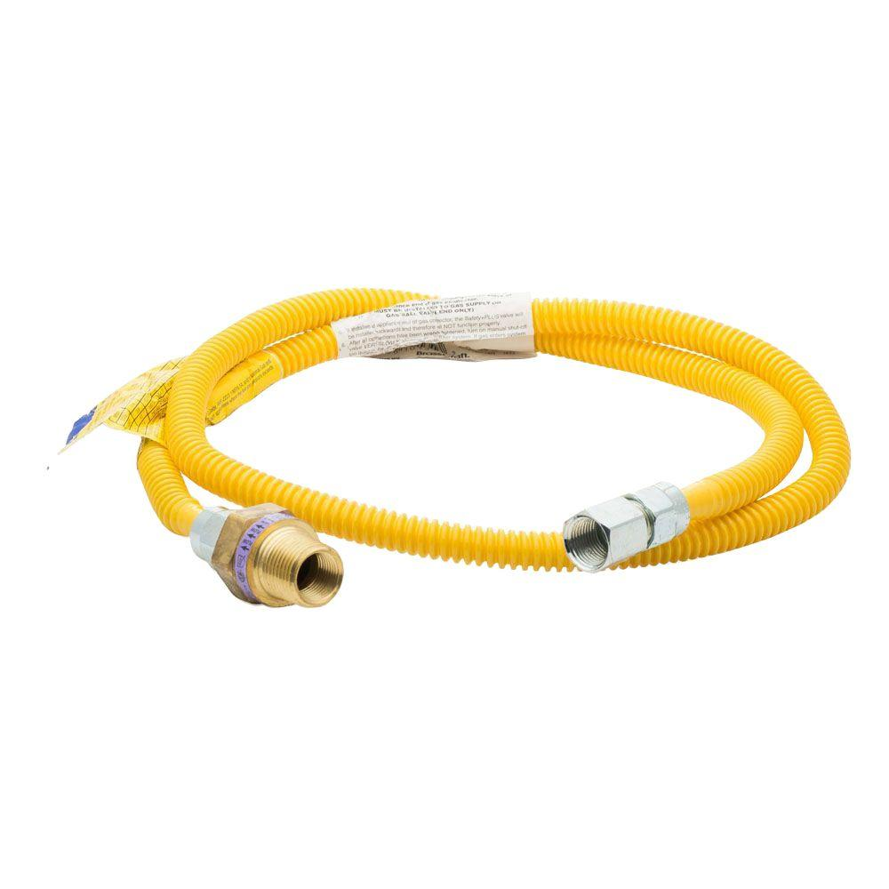 4 ft. Long 3/8 in. ProCoat Gas Connector with Safety+PLUS Valve,