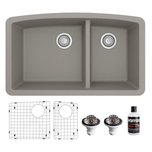 QU-711 Quartz/Granite Composite 32 in. Double Bowl 60/40 Undermount Kitchen Sink with Grid & Basket Strainer in Concrete