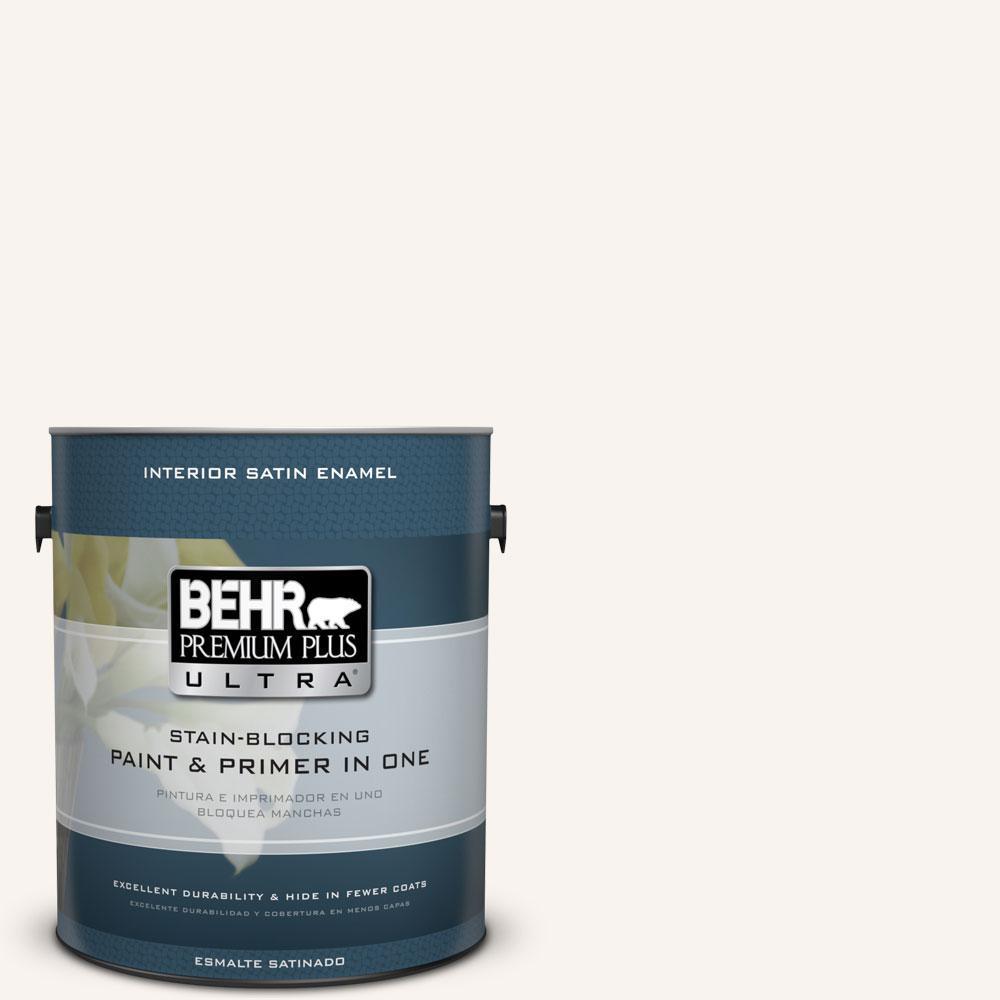 BEHR Premium Plus Ultra 1-gal. #W-D-700 Powdered Snow Satin Enamel Interior Paint
