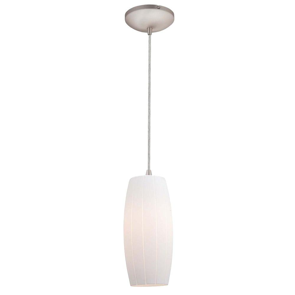 Access Lighting 1-Light Pendant Brushed Steel Finish White Glass-DISCONTINUED