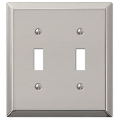 Metallic 2 Gang Toggle Steel Wall Plate - Polished Nickel