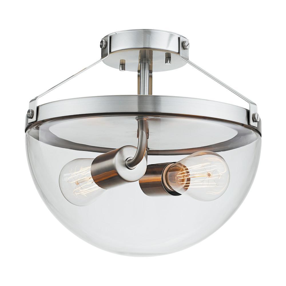 Globe Electric Belsize 2-Light Brushed Steel Semi-Flush Mount ...