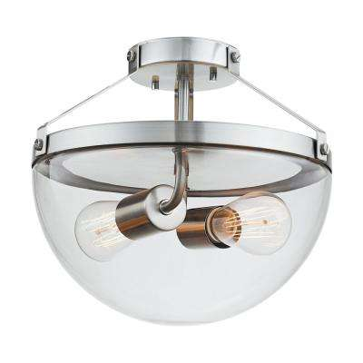 Belsize 2-Light Brushed Steel Semi-Flush Mount Ceiling Light with Clear Glass Shade