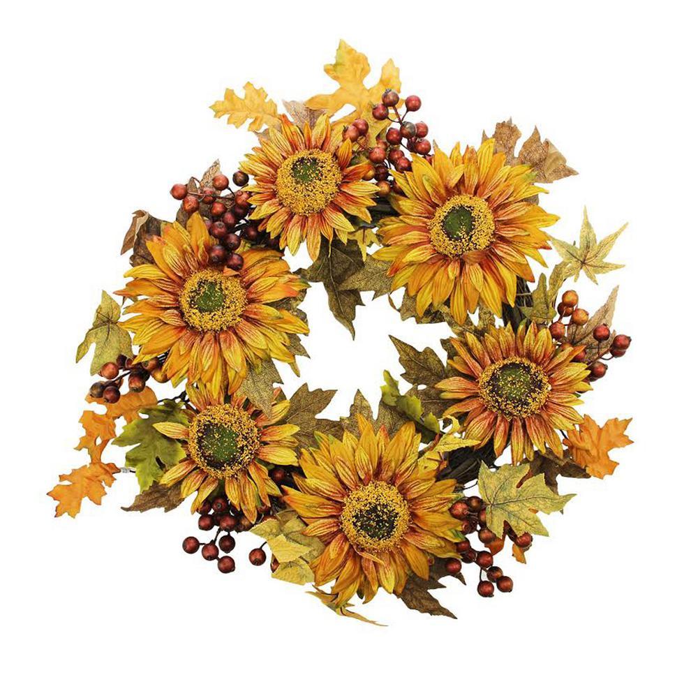 Vickerman 24 in. Unlit Autumn Harvest Sunflower Berry Wreath