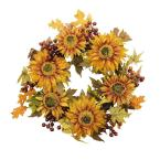 24 in. Unlit Autumn Harvest Sunflower Berry Wreath