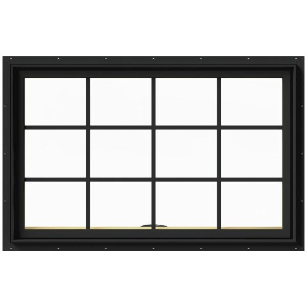 48 in. x 30 in. W-2500 Series Bronze Painted Clad Wood Awning Window w/ Natural Interior and Screen