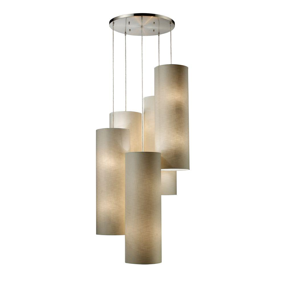 Titan Lighting Fabric Cylinders 20-Light Satin Nickel Ceiling Pendant