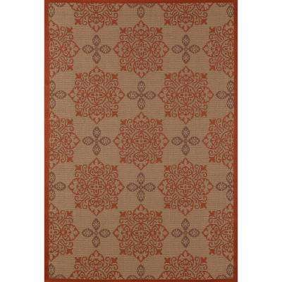 Plymouth Milan Red 4 ft. x 6 ft. Indoor/Outdoor Area Rug