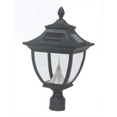 Pagoda Solar Black Outdoor LED Post Light on 3 in. Fitter Mount
