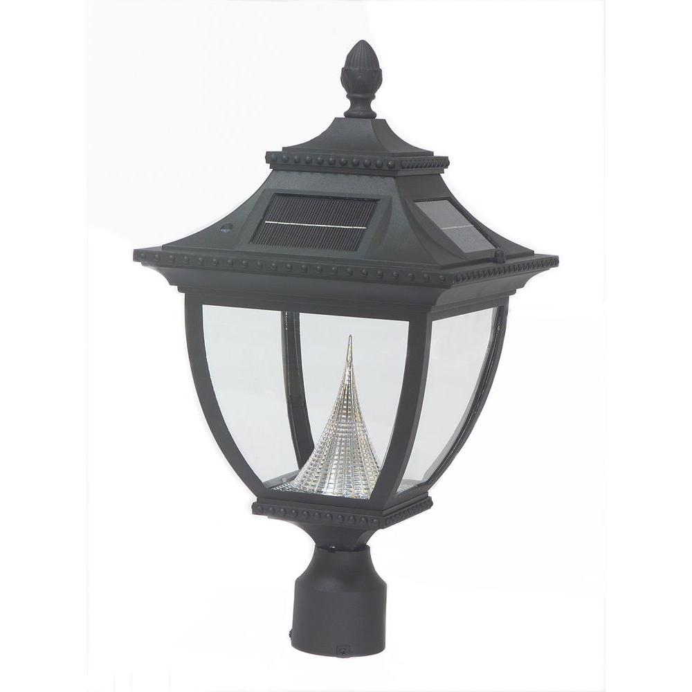 GAMA Pagoda Solar Black Outdoor LED Post Light on 3 in. F...