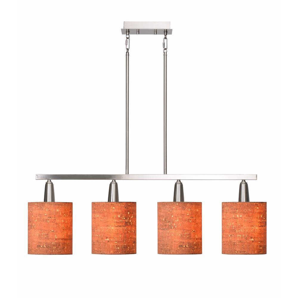 Kenroy Home Bulletin 4-Light Brushed Steel Island Light pendant