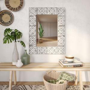 Medium Rectangle Distressed White And Gray Finishes Modern Mirror (30 in. H x 23 in. W)
