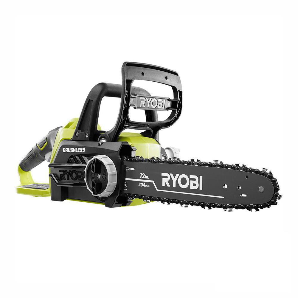 RYOBI ONE+ 12 in. 18-Volt Brushless Lithium-Ion Electric Cordless Battery Chainsaw (Tool Only)