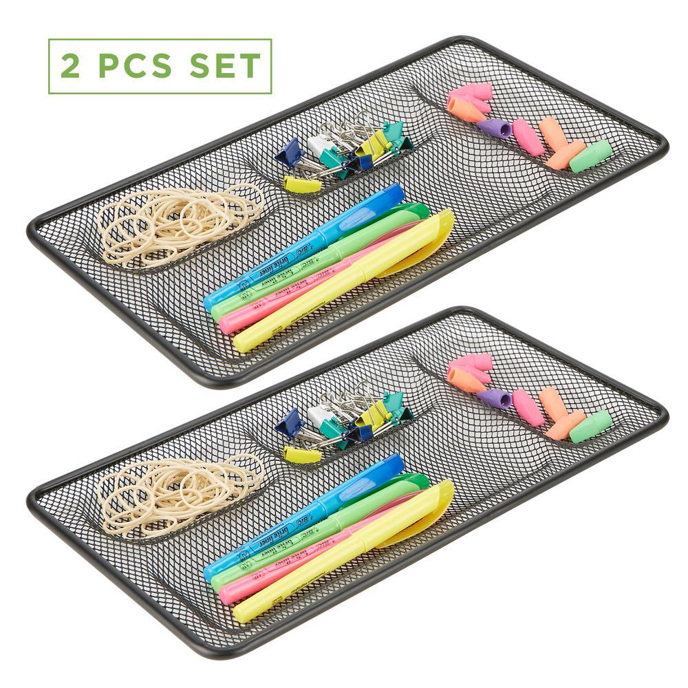 2 Piece Mesh Drawer Liner, Desk Accessories Organizer, Black Wire Mesh 4 Compartments, Storage Drawer Organizer, Black